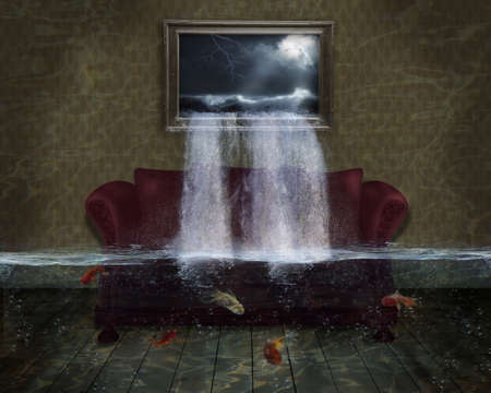 photomanipulation: imaginary room with sofa that it is being flooded from a picture