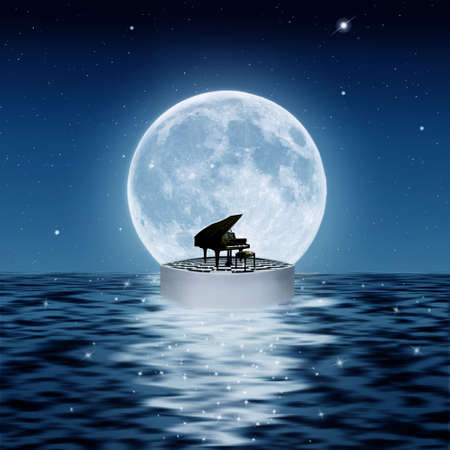 piano on a platform in the sea with a big full moon Standard-Bild