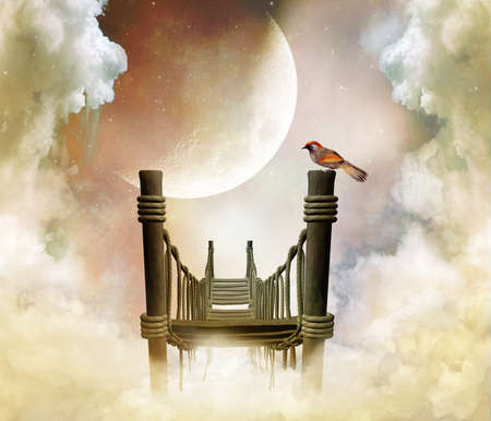 fantastic wooden bridge with a bird in the sky with a big moon