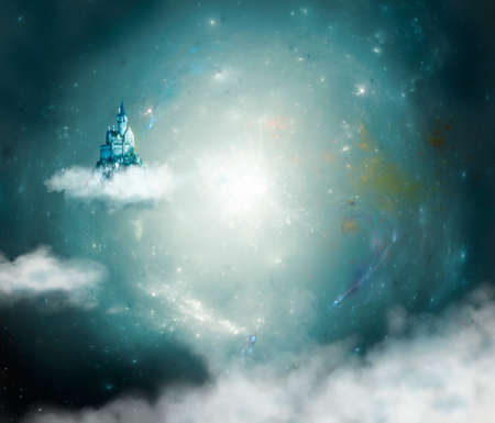 fantastic castle floating on a cloud in the center of the galaxy Standard-Bild