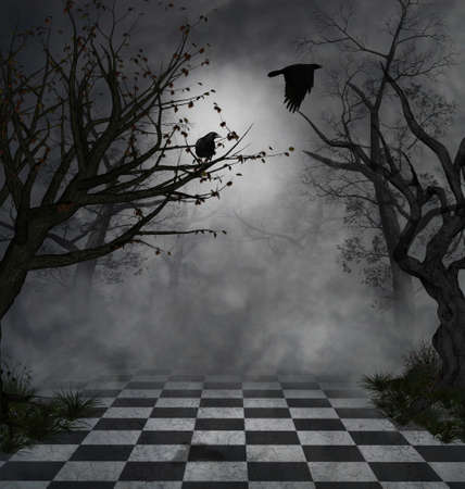 imaginary park with dead trees and crows flying at night