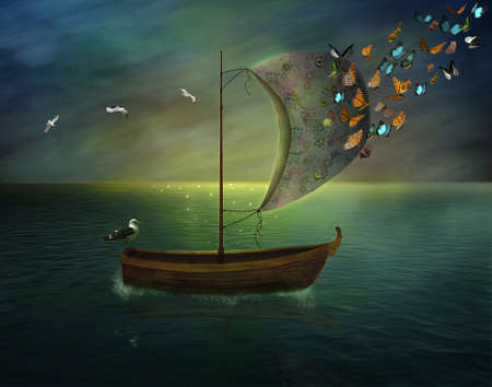 lonely boat sailing in a calm sea and butterflies