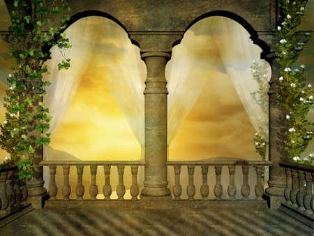透明なカーテンと花と幻想的な城のバルコニー 写真素材