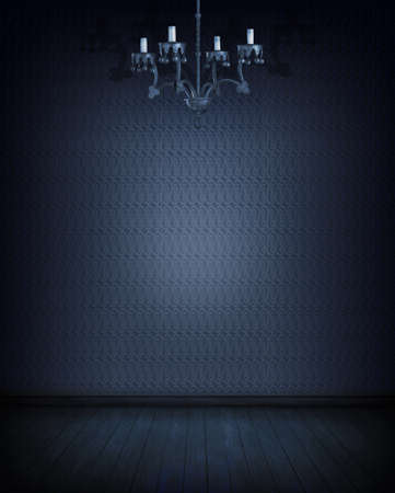 photomanipulation: Blue room with lamp, pattern wallpaper and wooden floor