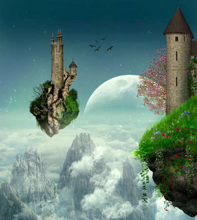 Two castles in floating island over the mountains