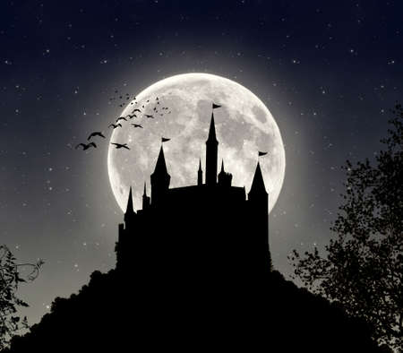 photomanipulation: The shadow of a castle in a dark night with big full moon