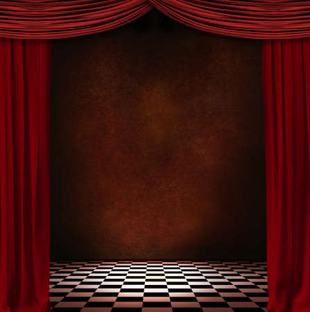 photomanipulation: Theater scenary with red curtains
