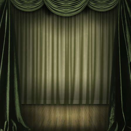 textil: Theater scenary with green curtains