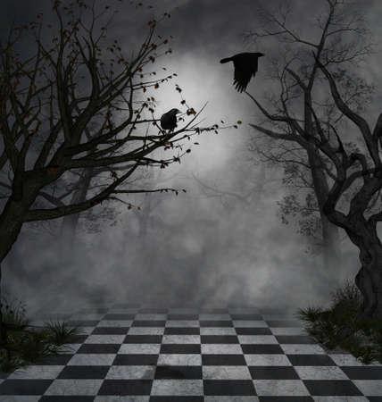 nacht met mist en twee kraaien vliegen in een mysterieuze park