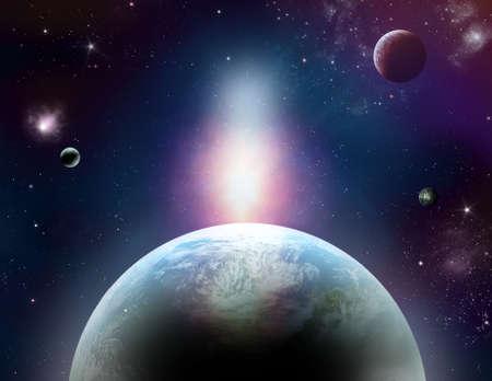 Cosmo fantastico con pianeti, stelle e luci meravigliose Archivio Fotografico - 29235338
