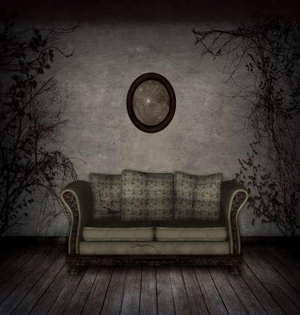 broken house: Creepy room with old sofa and broken mirror