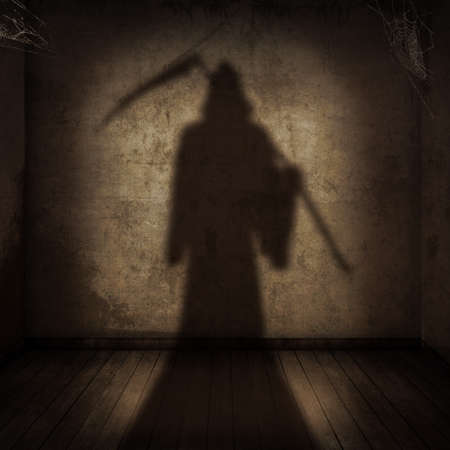 The shadow of the death with a scythe entering an empty room