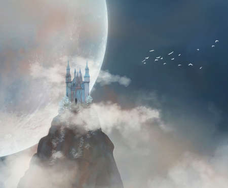 Fantastic castle in the top of a mountain with big full moon