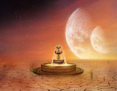 Lonely fountain in a desert with fantastic sky and two moons