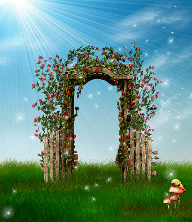 garden of eden: beautiful flowery fence in an imaginary park Stock Photo