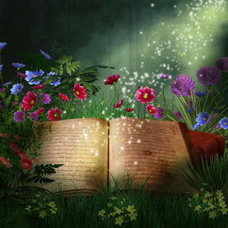 nighttime: Libro de magia en un fant�stico bosque Foto de archivo