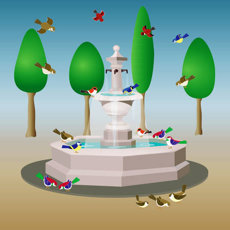 garden pond: vector illustration of a park  with fountain and birds Illustration