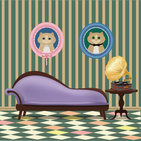 vector vintage room with phonograh, couch and two cats portriats