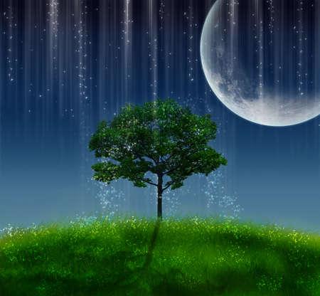 magic tree illuminated by a big moon at night Standard-Bild