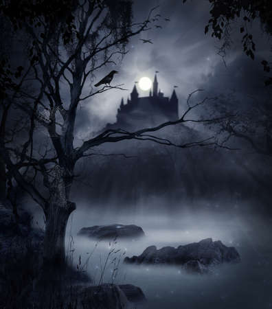 eerie: The castle in a swamp in a dark night with the moon illuminating the scene