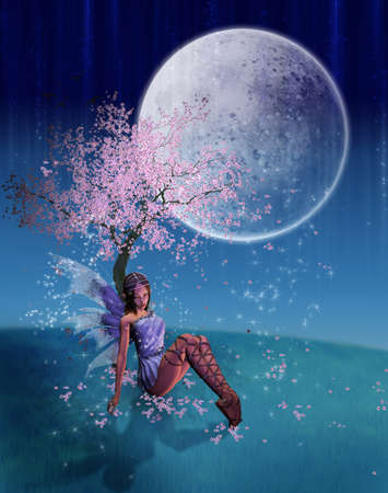 sweet fairy resting under peach tree with the moon light