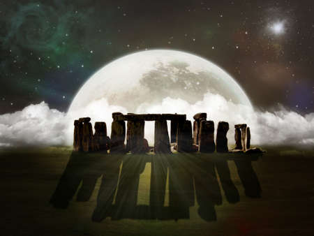 Photomanipulation of ruins of Stonehenge in a night with fantastic moon