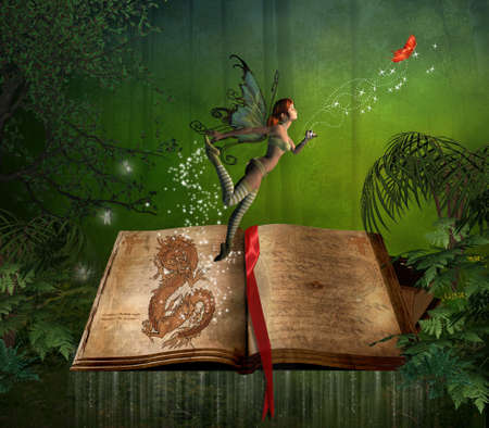 mystical forest: fairy flying over a story book in the forest Stock Photo
