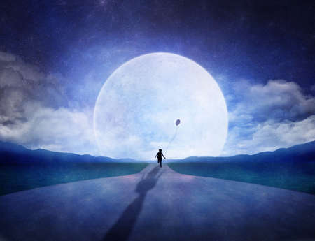 Boy running on the road to the horizon with a big full moon Standard-Bild
