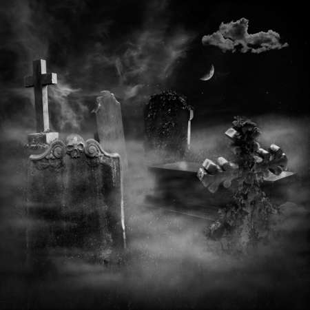 A graveyard with old tombs on a foggy night