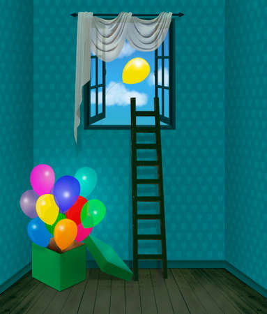 Children roomwith a box full of balloons and a scale on the window