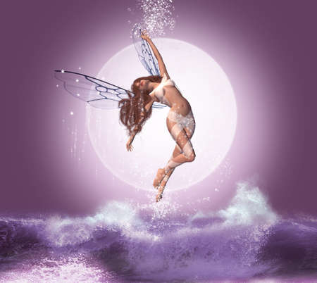 Beautiful fairy flying over the waves in a night with full moon 版權商用圖片