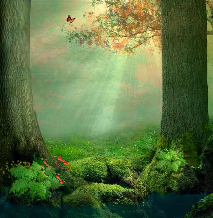 Een vijver en twee grote bomen in het bos in een mooie dag met stralen van licht tussen de bladeren Stockfoto