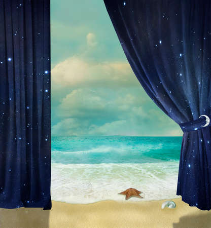 fantastic beach with starfish and curtains with sky texture