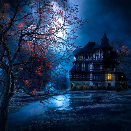 mysterieus huis in de nacht met de maan verlichten het landschap Stockfoto