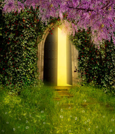 An ancient door is opened and indoor lights are iluminating the scene