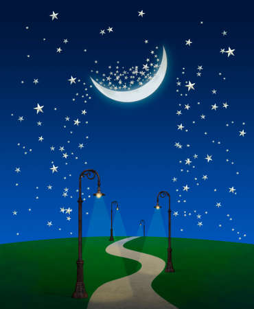 photo manipulation: Fantasy sky with moon and stars and pahtway with streetlamps Stock Photo