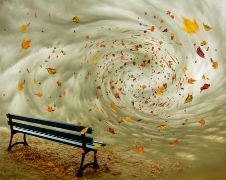 park bench with autumn leaves flying in a whirlwind