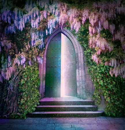 castillo medieval: antigua puerta con misteriosas luces en la noche Foto de archivo