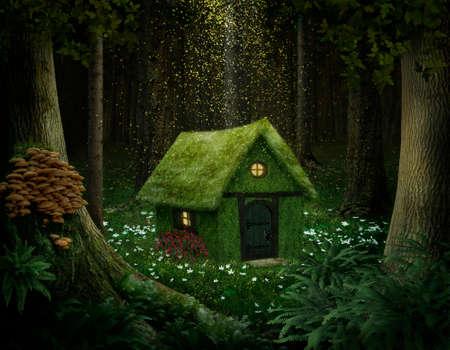 kleines Haus aus Moos in einem verzauberten Wald