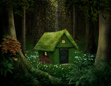 elves: little house of moss in an enchanted forest