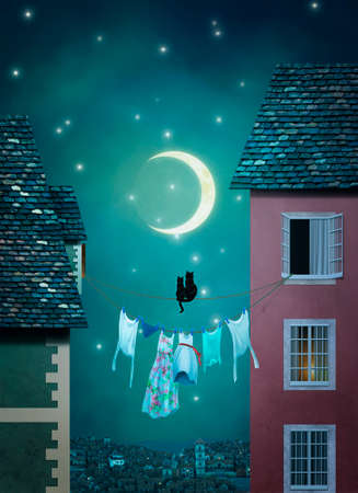 courtain: Two cats on a rope are looking at the moon in a town at night