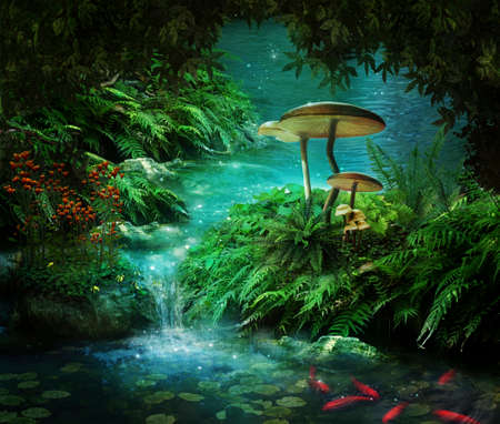 waterfalls: view of fantasy river wiht a pond, red fishes and mushroom Stock Photo