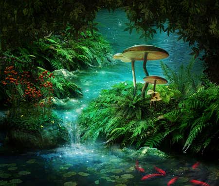 Vista del fiume fantasia traino con un laghetto, pesci rossi e funghi Archivio Fotografico - 38918237
