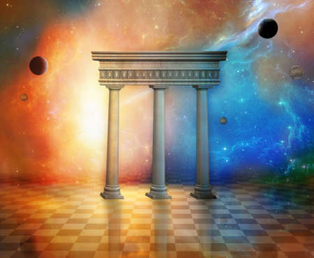photomanipulation: columns of an old temple in the fantastic space