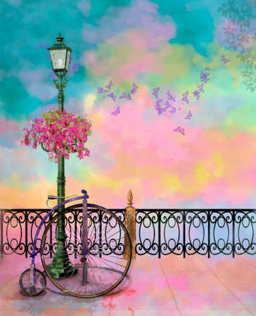 photo manipulation: a colorfull park with street lamp and old bycicle in a summer day