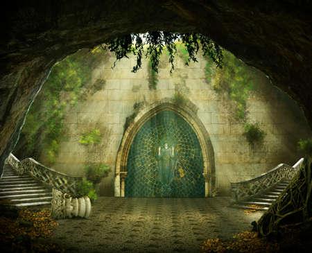 cueva de fantasía con un castillo en ruinas en el interior, escalera de mármol y una pintura