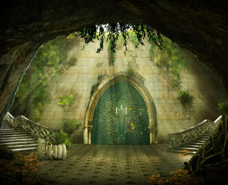 fantasy cave with a ruined castle inside, marble staircase and a painting Imagens