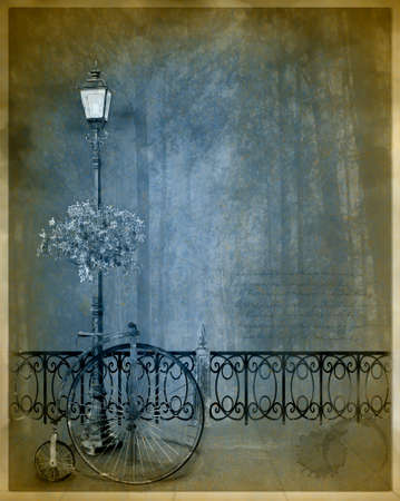 vintage postcard with a streetlamp and old bycicle