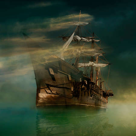 A phantasmagoric old ship sailing in calm waters