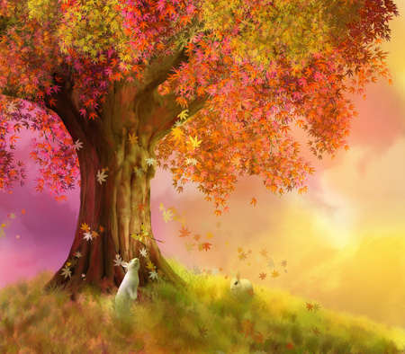 illustration of an autumn day with a big  tree and two rabbits Standard-Bild